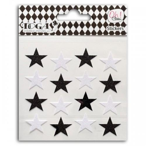 16 pegatinas en blanco y negro con lentejuelas