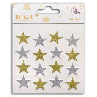 16 gold and silver glitter stickers