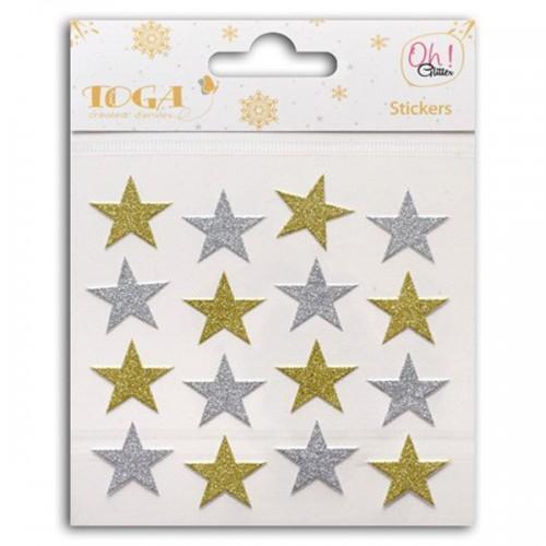 16 stickers à paillettes or & argent