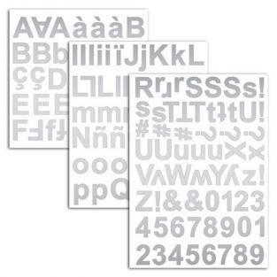 165 stickers alphabet argenté