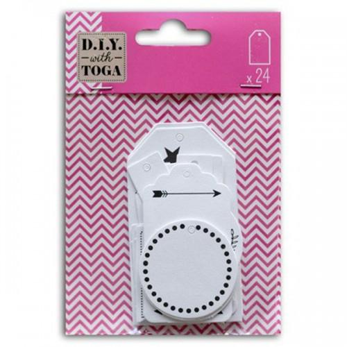 24 white decorative labels