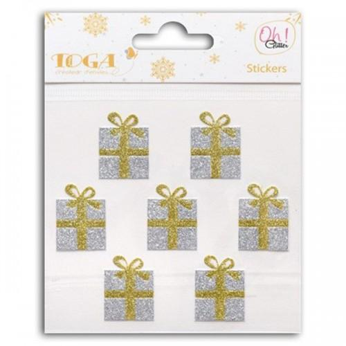 Stickers cadeaux dorés & argentés