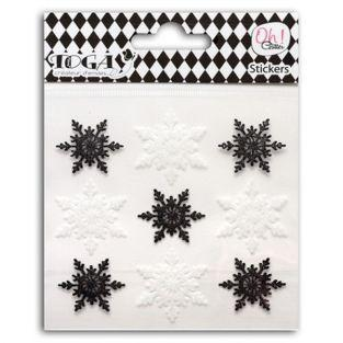 9 stickers sequined black & white flakes