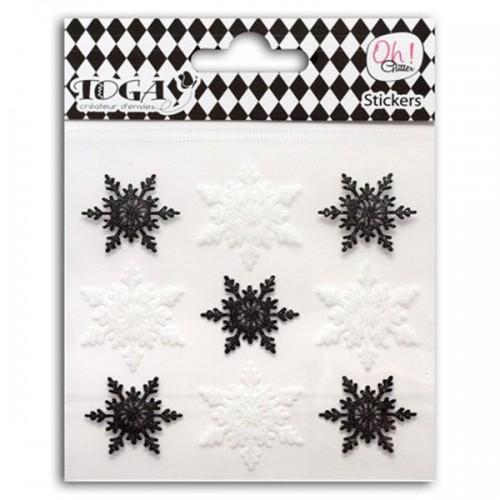 9 pegatinas escamas en blanco y negro con lentejuelas