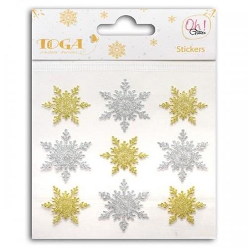 9 stickers à paillettes flocons or & argent