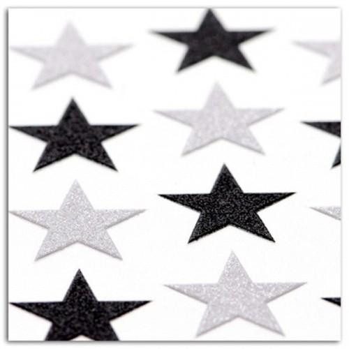 16 black & white stickers with sequins