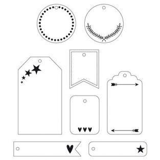 24 etiquetas decorativas blancas