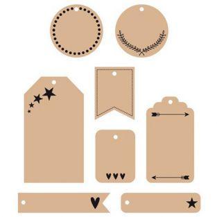 24 étiquettes kraft de décoration