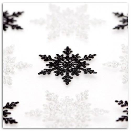 9 stickers à paillettes flocons noir & blanc