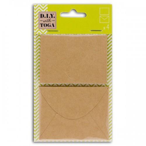 4 mini cartes kraft avec enveloppes