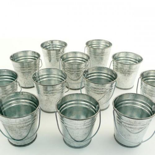 12 mini zinc buckets 6 cm