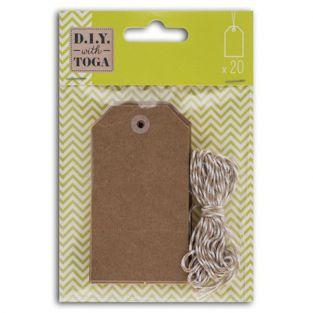 21 kraft labels with 2-tone string