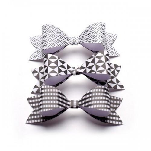 Noeuds papillons papier à monter - noir & blanc
