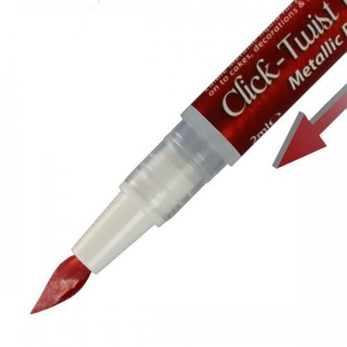 Pinceau feutre alimentaire Click-Twist Brush - rouge métallisé