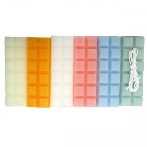 Cire à bougie 6 couleurs pastel 240 g + mèche