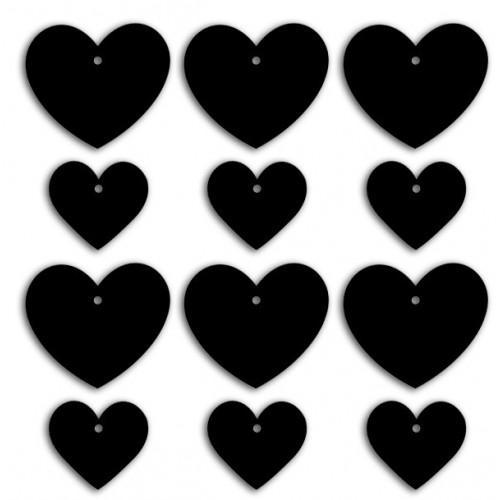Etiquetas pizarras - corazones grandes y pequeños