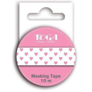 Masking tape cœurs rose - 10 m