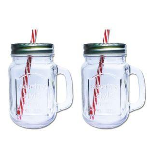 2 Mason Jar Mugs with covers
