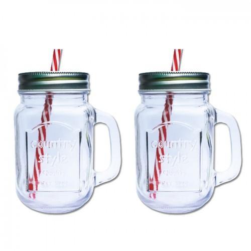 2 tazas Mason Jar con cubierta