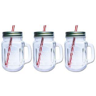 3 Mason Jar Mugs with covers