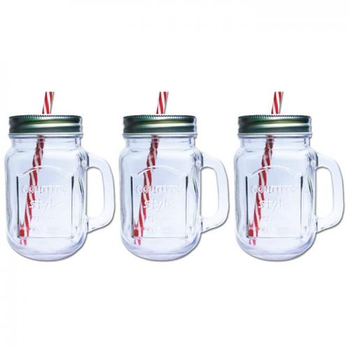 3 Mason Jar Mugs with covers