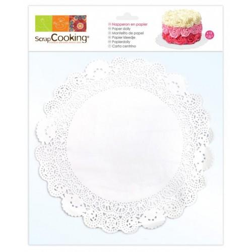 12 white paper doilies