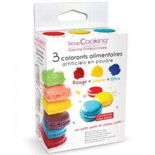 3 colorants alimentaires en poudre jaune-rouge-bleu