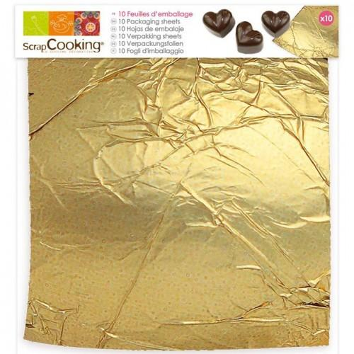10 feuilles dorées pour pâtisserie