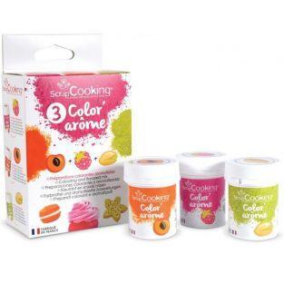 3 Colorants-arômes alimentaires framboise-abricot-pistache