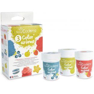 3 Colorants-arômes alimentaires fraise-pomme-myrtille