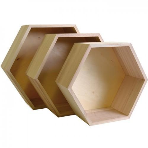 3 étagères hexagone en bois