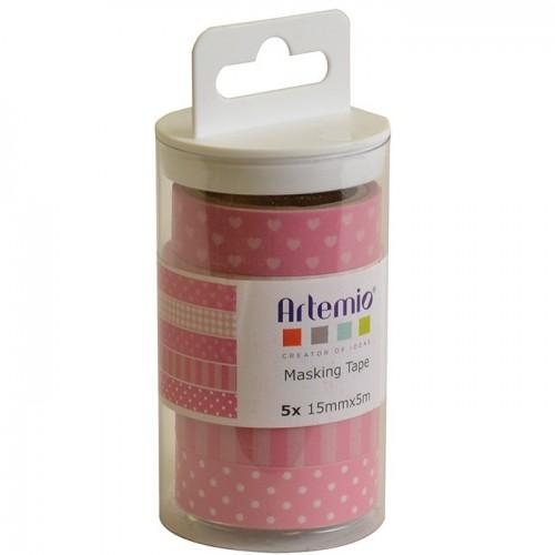 5 Masking Tapes with patterns - Pink