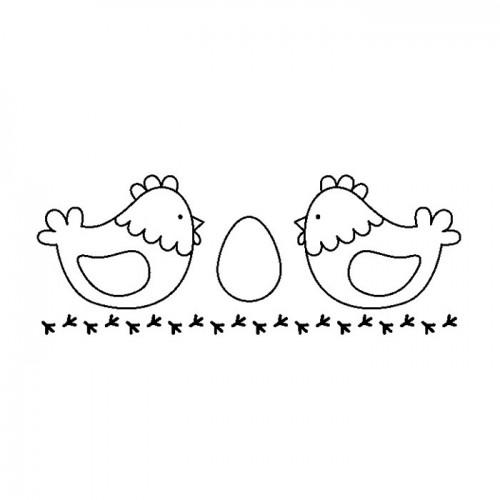Wood stamp - 2 hens