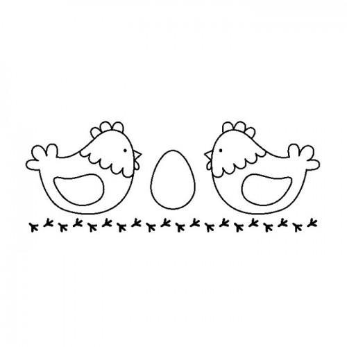 Tampon bois - 2 poules