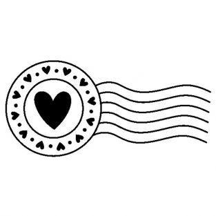 Tampon bois - Cachet postal cœurs