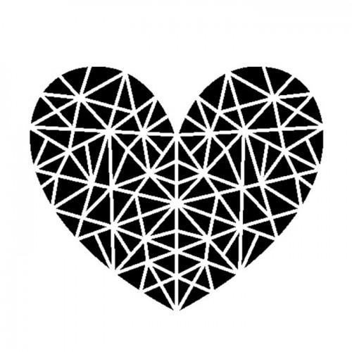 Tampon transparent - Cœur géométrique & son bloc acrylique