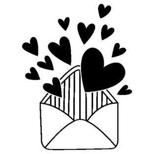 Tampon bois - Enveloppe cœurs