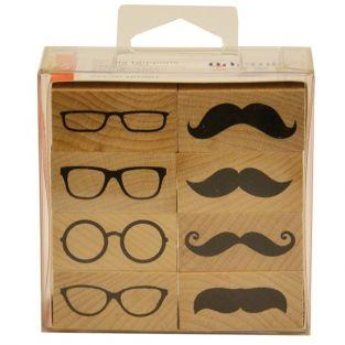 Kit 8 wood stamps - Glasses & Whisker