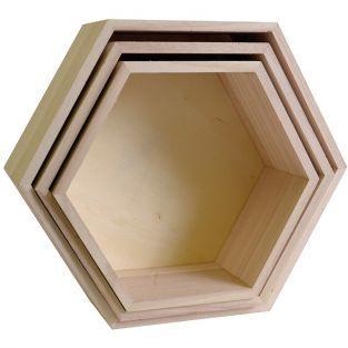 3 estantes de madera - Hexágono
