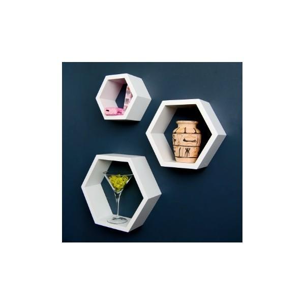 Hexagone Bois : cr?atifs > Peinture & accessoires > 3 ?tag?res hexagone en bois