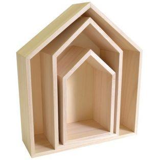 3 Holzregale - Haus