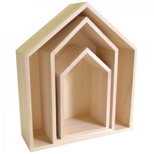 3 étagères maison en bois