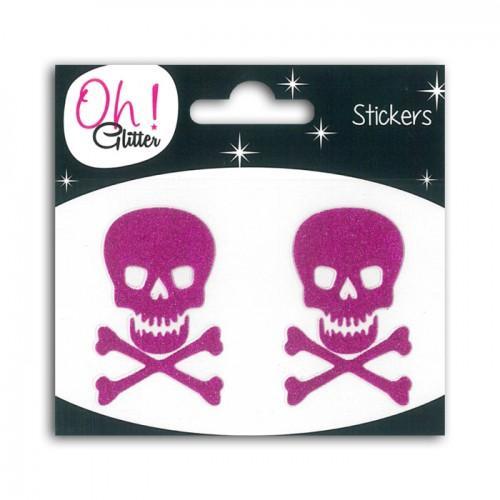 Stickers tête de mort à paillettes - Fuchsia