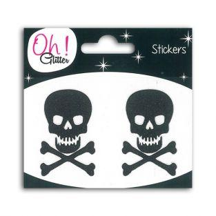 Stickers skullwith glitter - Black