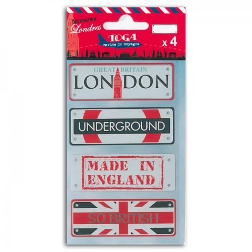 Mini plaques métal Londres x 4