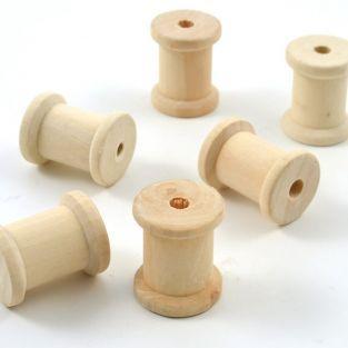 Mini-Holz-Spulen x 6