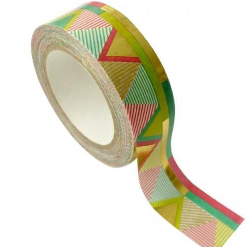 Masking Tape doré 1,5 cm x 10 m - Aztèque - multicolore
