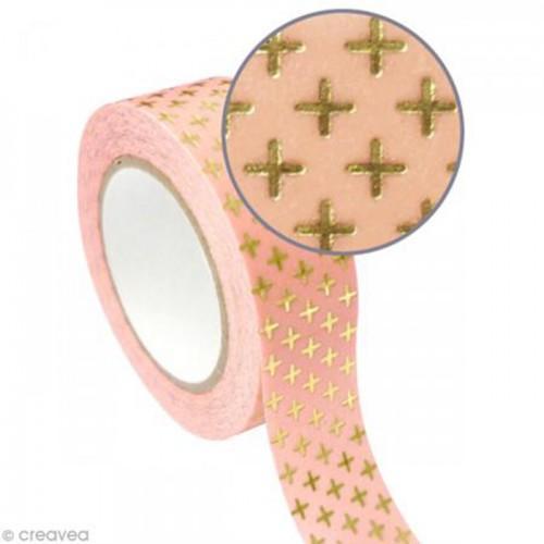 Cinta adhesiva rosa 1,5 cm x 10 m - Cruz dorada