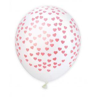 6 globos Ø 25 cm - Corazones