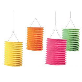 4 lampions en papier colorés